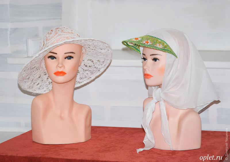 Кружевная шляпка и платок с кружевным козырьком